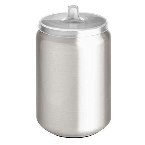 Price comparison product image iDesign Austin Bathroom Storage,  Lidded Canister for Personal Items,  Stainless Steel Cotton Pad Holder,  Clear / Matte Silver,  8.9 cm in diameter x 14.6 cm