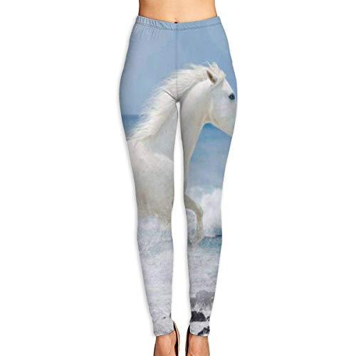 JJsister Damen Running White Horse Bedruckte Leggings Yoga-Workout-Leggings in voller Länge Hosen Weiche Capri