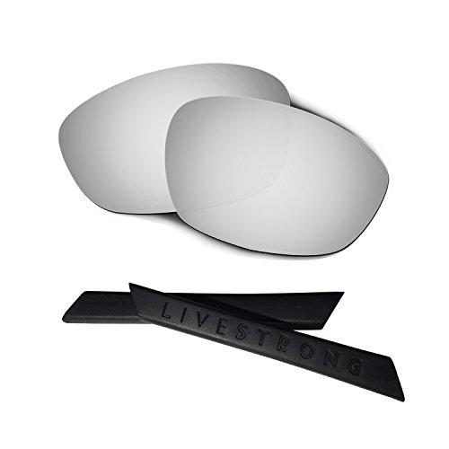 HKUCO Silver Polarized Replacement Lenses Plus Black Earsocks Rubber Kit for Oakley Straight Jacket£¨2007