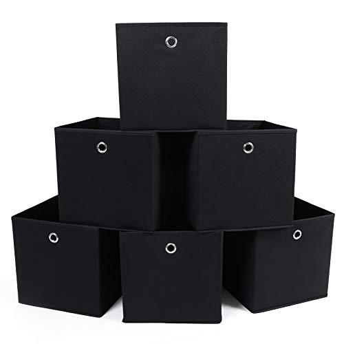 SONGMICS RFB02H-3 - Organizadores Plegables, 6 Piezas, con Agujeros para Dedos, 30 x 30 x 30 cm. Negro