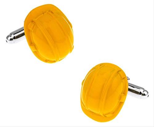 XKSWZD Manschettenknöpfe Schutzhelm Manschettenknöpfe Hut Design gelbe Farbe Messing Material