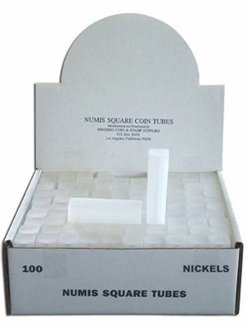 Numis 21.2mm Nickel Square Coin Tube Storage 100 pack