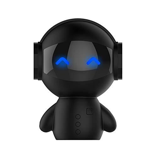 XFSE Roboter Bluetooth Lautsprecher Wireless-Karte Handy Mini Audio USB-Ladestation Ladestation Für Mobile Geräte Schwarz Weiß (Color : Black)
