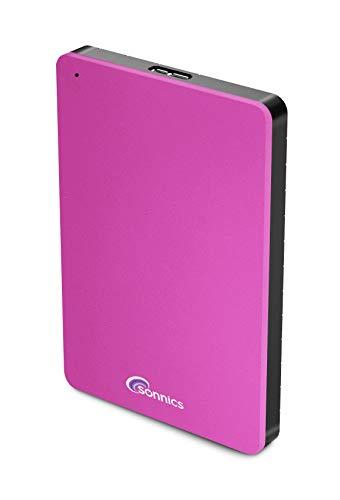 Sonnics Disco duro externo USB 3.0 de 1 TB, color rosa, velocidad de transferencia súper rápida para usar con Windows PC, Apple Mac, Smart TV, Xbox One y PS4