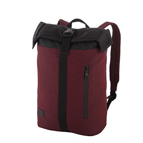 Rada Freizeitrucksack Rolltop RS/34, Daypack für Damen und Herren, wasserabweisender Schulrucksack für Mädchen und Jungen 39x49x14cm (Bordeaux 2 Tone Cognac)