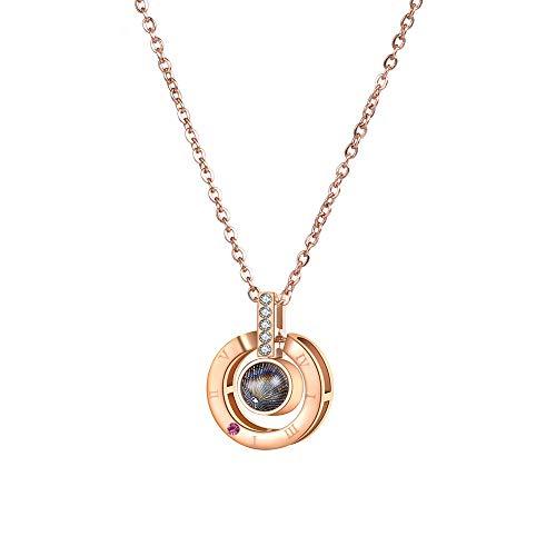 HYL0 Edelstahl Waterdrop Halskette Rose Gold Farbe 100 Sprache Ich Liebe Dich Für Immer Liebe Geschenk für Liebhaber Rose Gold ZZBiao (Color : Rose Gold)