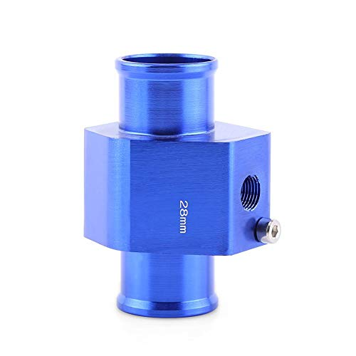 Wassertemperatur Adapter- Aluminiumlegierung Universal Metall Auto Wassertemperatur Verbindungsrohr Schlauch Temperatursensor Adapter (blau)(28MM)