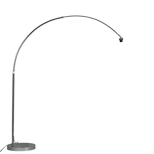QAZQA Moderno Lámpara de arco moderna cromada ajustable sin pantalla Metálica Redonda Adecuado para LED Max. 1 x 60 Watt