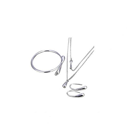 Naicasy Juego de Collar joyería Plateada Plata Pendientes de Gota de Agua Collar de la Pulsera y Pulsera con un Kit de Pares de aretes