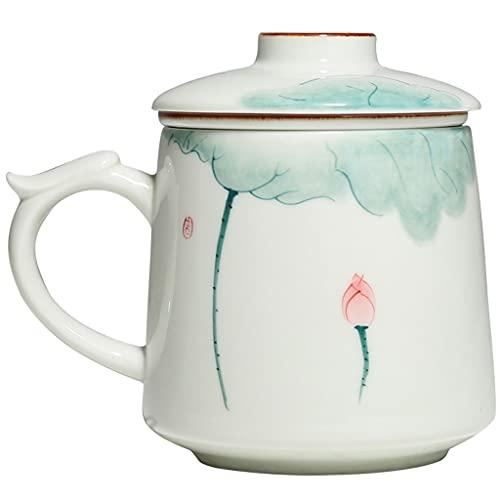 WHL Taza de Loto Verde Pintada a Mano Taza de té con Capa de Filtro y Tapa, Taza de cerámica, Taza de Oficina en el hogar con la Taza de té del Filtro (Color : White+Lotus)