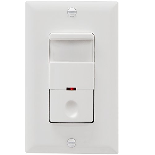 TOPGREENER TDOS5-White Motion Sensor Light Switch, PIR Sensor Switch, Occupancy Sensor Light Switch, Motion Sensor Wall Switch, 500W 1/8HP, Neutral Wire Required, Single Pole, White