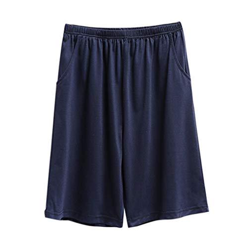 MOTOCO Herren Lounge Wear Hosen Nachtwäsche Super weiche Bequeme Pyjama-Hose aus Baumwolle(L,Marine)