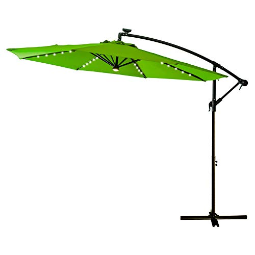 FLAME&SHADE 10 Foot LED Light Outdoor Offset Cantilever Umbrella, Hanging Patio Umbrella with Rechargeable Lights, Crank Lift, Large Round, Apple Green