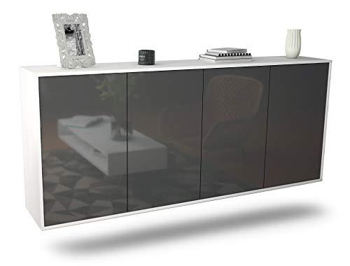 Dekati Sideboard Lakewood hängend (180x77x35cm) Korpus Weiss matt | Front Hochglanz Grau | Push-to-Open
