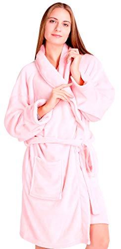 Pembrook Ladies Robe - Soft Fleece – Pink - Size S/M – Spa Bathrobe Women Girls