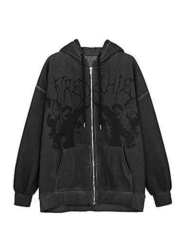 Women´s Y2K E-Girl Oversized Sweatshirt, Zip Up Hoodies Coat Long Sleeve Streetwear Jacket with Drawstring, Pocket (Black-V, X-Large)