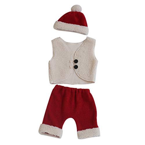 N/A. Juego de 3 accesorios de fotografía para recién nacidos, gorro de bebé+chaleco+pantalones, disfraz de Papá Noel para bebés