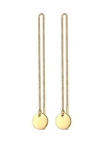 Elli Ohrringe Damen Ohhänger Plättchen Kreis Durchziehen Trend in 925 Sterling Silber Vergoldet