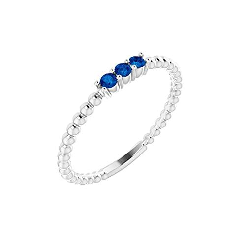 Anillo de plata de ley 925 creado en laboratorio con zafiro azul pulido de laboratorio creado con cuentas de zafiro azul tamaño N 1/2 para regalo de joyería para mujeres