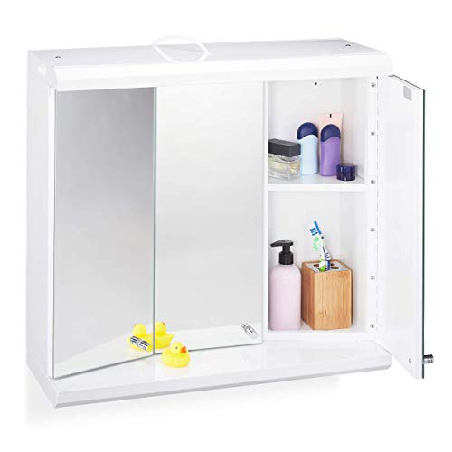 Relaxdays LED Spiegelschrank, 3-türig, 6 Fächer, Steckdose, Badezimmer, Hängeschrank H x B x T: 58 x 60 x 23 cm, weiß, Standard