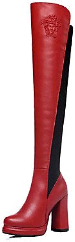 NVXUEZIX NVXUEZIX NVXUEZIX Damen Schuhe Kunststoff Herbst Winter Modische Stiefel Stiefel Übers Knie Für Kleid Party & Festivität Schwarz Rot, us5   eu35   uk3   cn34  d57914