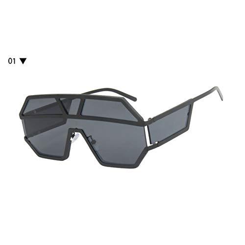 SKCLBOOS Gafas de Sol Gafas de Sol de Gran tamaño Hombres Marco Grande de Metal de una Pieza Lentes Gafas de Sol para Mujeres Moda Escudos Goggle Oculos UV400