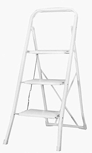 Tec Hit 44420 - Escalera de acero de 3 peldaños, color blanco: Amazon.es: Bricolaje y herramientas