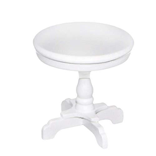 Maison De Poupée Miniature Délicat Bureau Mignon Mini Poupée Maison Ronde Thé Décoration De Table En Bois Accessoires Vivid Toy Modèle Blanc