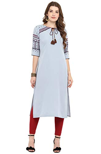 Janasya Indian Tunic Tops Crepe Kur…