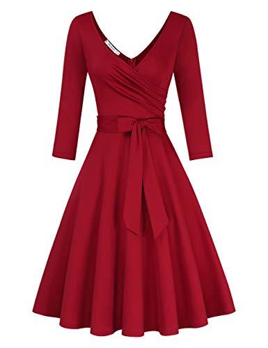 KOJOOIN Damen Vintage 50er V-Ausschnitt Abendkleid Rockabilly Retro Kleider Hepburn Stil Cocktailkleid Langarm Weinrot (Langarm) 【EU 38-40】/M