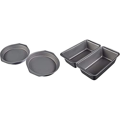 Amazon Basics - Backformen für Kuchen, 22,8 cm, antihaftbeschichtet, Karbonstahl, 2er-Pack & Amazon Basics - Brotbackform, antihaftbeschichtet, Karbonstahl, 23,5 x 12,7 cm, 2er-Pack