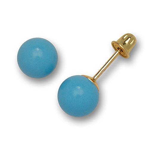 Jewelryweb Pendientes de tuerca de oro amarillo macizo de 14 quilates con forma de bola azul turquesa (3-8 mm)