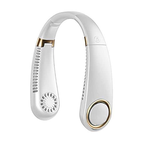 LDH Ventilador Portátil con Banda para El Cuello, Ventilador Recargable USB De 3000 MAh, Ventiladores Silenciosos para Deportes para Viajes, Deportes, Acampada Al Aire Libre (Color : Blanco)