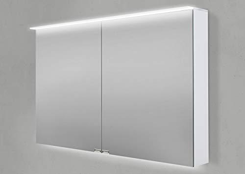 Intarbad ~ Spiegelschrank 100 cm LED Acryl Lichtplatte doppelseitig verspiegelt Grau Matt Lack