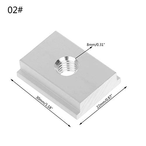 JOYKK M8 T-slot T-Slider Schuifmoer Voor Houtbewerking Gereedschap Slot Bevestiging Pruiken Persplaat - Zilver