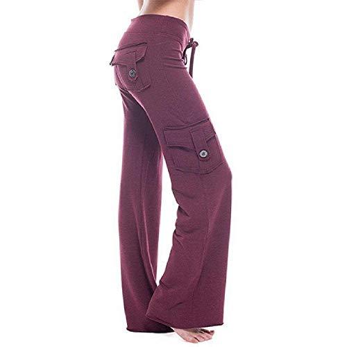 N\P Pantalones largos elásticos de cintura alta para mujer, de color sólido, con botones, múltiples bolsillos, pantalones de pierna ancha