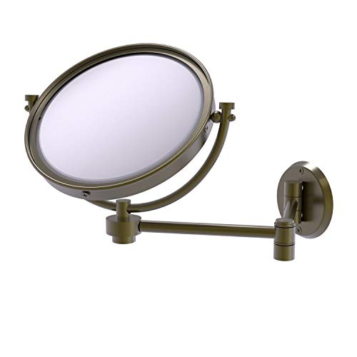 Allied Brass WM-6/2X 8 Inch Wall Mounted Extending 2X Magnification Make-Up Mirror, Antique Brass