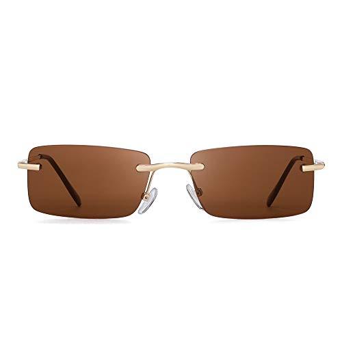 GLINDAR Gafas de sol rectangulares vintage Gafas sin montura delgadas transparentes Bisagra de primavera Marrón