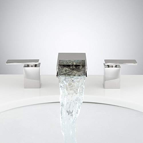 Signature Hardware 924621 Willis Widespread Waterfall Bathroom Faucet with Pop-Up Drain Assembly