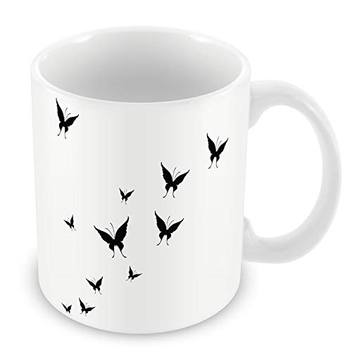 Mug Céramique Tasse Envolée de Papillons Ombres Noir&Blanc Vecteurs Nuée