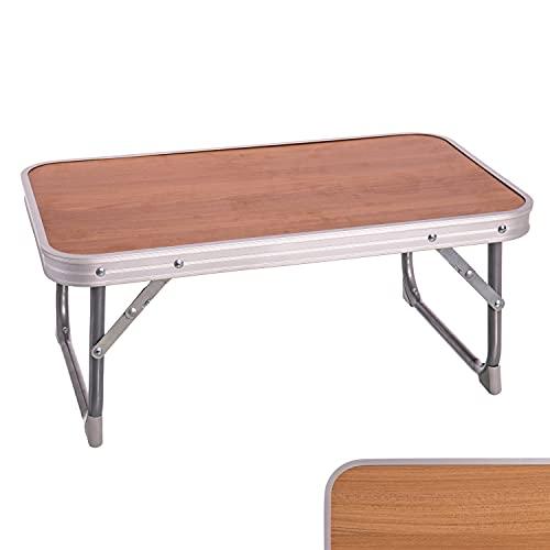 TIENDA EURASIA Mesa Plegable de Camping/Picnic - 2 Colores - Estructura de Aluminio con Asa para Transportar (Madera, 56 x 34 x 24 cm)