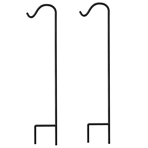 GrayBunny Shepherd Hook, 48 Inch Black 2/5 Inch Thick, Super Strong Rust Resistant Premium Metal Hook For Weddings, Hanging Plant Baskets, Solar Lights Lanterns Bird Feeders Mason Jars & Plant Hangers