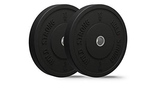 HOLD STRONG Fitness Bumper Plates aus Vollgummigranulat im Set - Aufnahme 50,4 mm - 2 x 5 kg, 2 x 10 kg, 2 x 15 kg, 2 x 20 kg - Hergestellt in der EU - Hantelscheiben, Gewichtsscheiben (B: 2 x 10 kg)