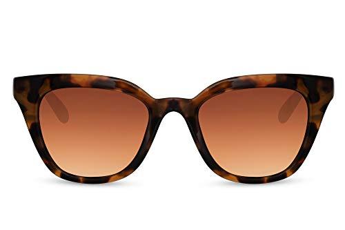 Cheapass Sunglasses Gafas de sol Clásico Retro Leopardo Mujer Cateye Sunnies para mujer con lentes degradados marrones con protección UV400