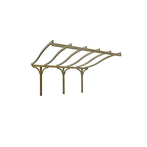 Tonnelle Adossée en Bois pour Terrasse - Toiture Archée a Forme S (h 305 x 525 x 410 cm)
