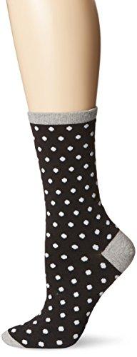 Hot Sox Women's Originals Classics Novelty Crew Socks, Small Polka Dots (Black), Shoe Size: 4-10