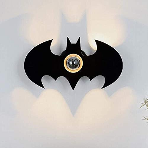 Luces de pared modernas con efecto de sombra para interiores, iluminación de pared de Batman de dibujos animados creativos para sala de estar Lámpara de pared de noche decorativa para habitación de n
