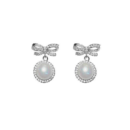 Pendientes para mujer largos Antialérgicos Pendientes temperamento simple lazo y perla El mejor regalo de cumpleaños o vacaciones