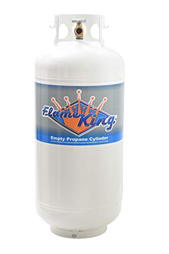 Flame King YSN401b 40 Pound Steel Propane Tank Cylinder with OPD Valve, White