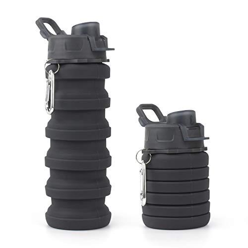 Putron Botellas de Agua de Silicona Plegables, Botella de Agua Deporte, para Viajes, Camping, Senderismo, Senderismo, Correr 550 ML de Agua Portátil de Silicona Botella (Black)